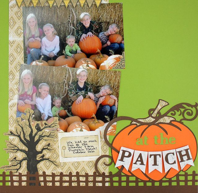 At the Patch - Rustic Fence Border Scrapbooking Layout