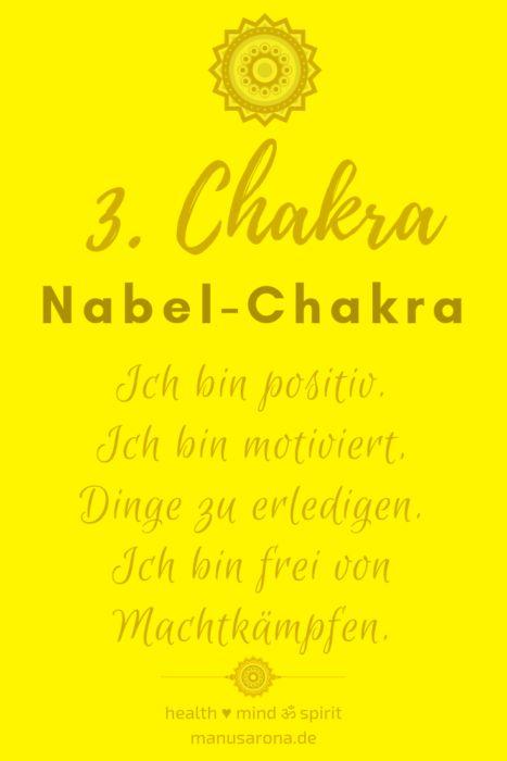Positive Affirmationen für das 3. Chakra Nabelchakre Manipura