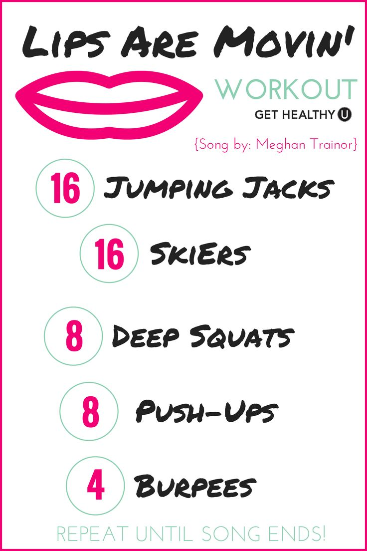 "Turn up the tunes and get sweating! This is a no-equipment one song workout done to Meghan Trainor's ""Lips Are Movin'"""