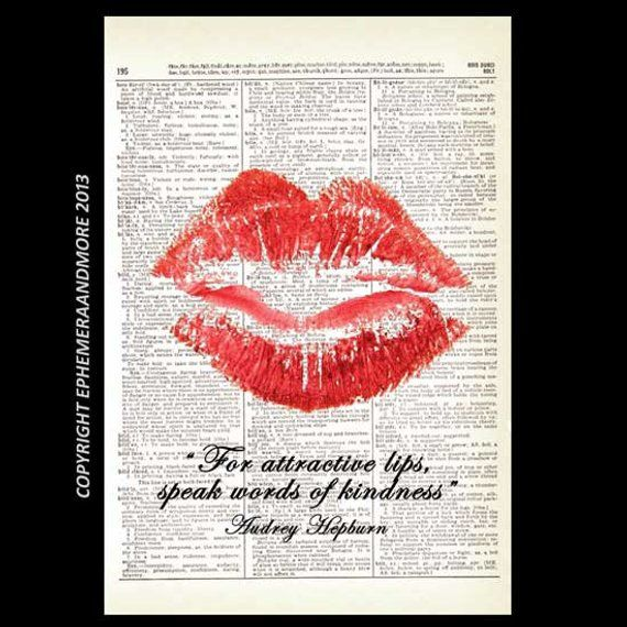 Red Lips Art Print Wall Decor Audrey Hepburn Quote On Kindness Pop