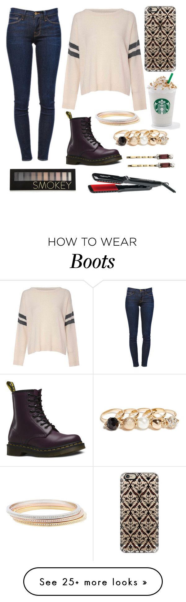 """Starbucks+lose shirts+cute boots= what's not to like?"" by fiona1919 on Polyvore featuring Casetify, Glamorous, Thairapy365, Frame Denim, Dr. Martens, GUESS, Kate Spade and Forever 21"
