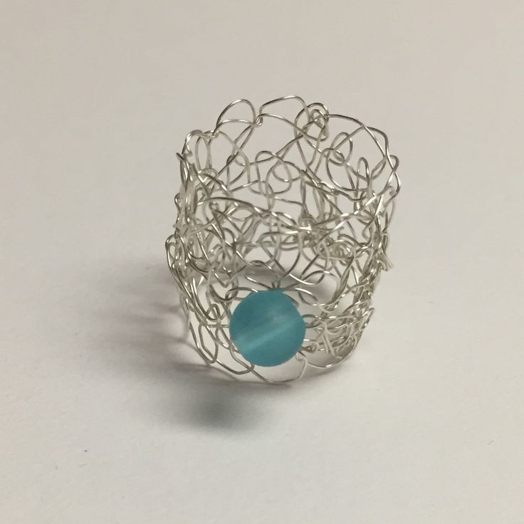 Blue Sea Glass Silver Wire Crocheted Ring
