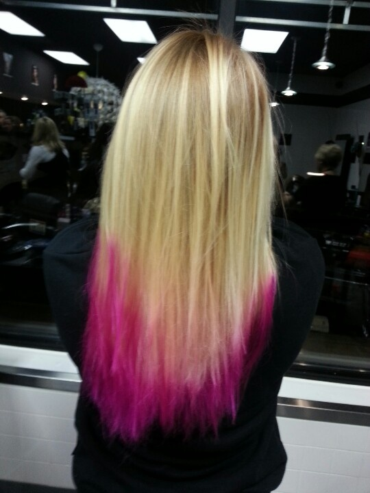 Hot Pink Tips In Blonde Hair Style Hair Pinterest