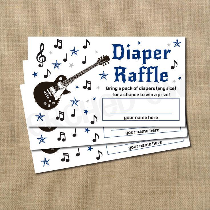 Rockstar Guitar Baby Shower Diaper Raffle Ticket  by PerchedOwl, $10.00