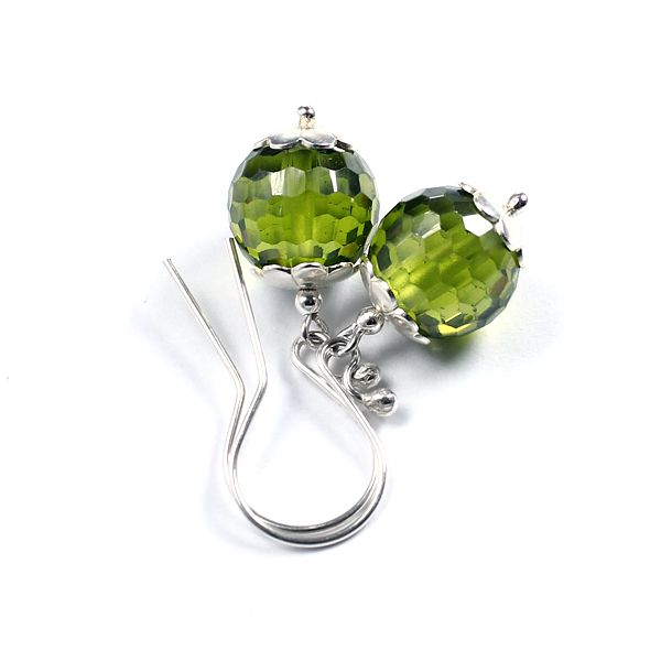 Olivine cubic zirconia and silver. Modest, elegant earrings.