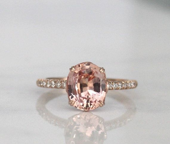 20 Etsy Shops For Engagement Rings - peach sapphire and diamond engagement ring (wedding)