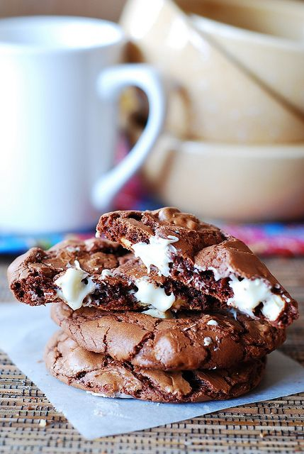 Outrageous chocolate cookies with white chocolate chips from @Julia #chocolate #cookies