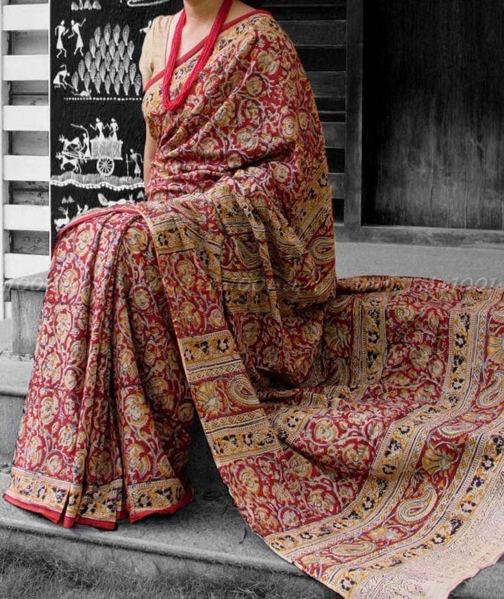 Beautiful  Kalamkari Block Printed Mul Cotton Saree
