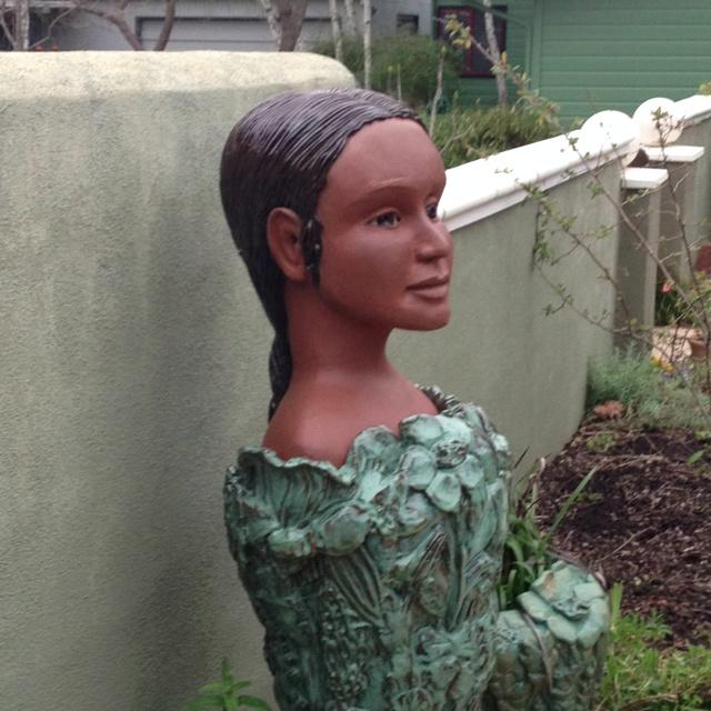 Donna Billick sculpture of Califia in our yard.