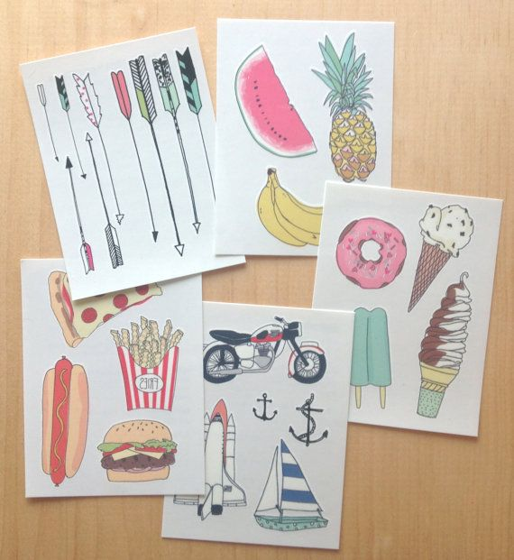 Temporary tattoos printed with eco-friendly soy inks.    Comes with all 5 sheets of tattoos: 1. arrow pack  1. moto pack  1. treat pack  1.