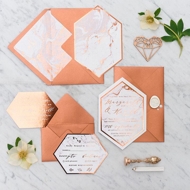 Copper and marble wedding invitation kits #goldwedding #vintagewedding