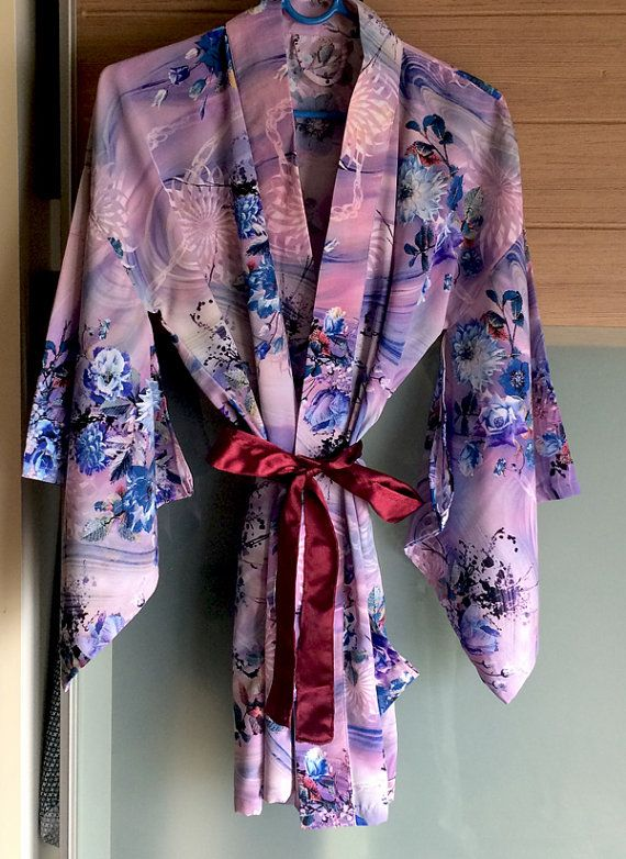 Yukata Robe, Japanese Kimono, Vintage Style, Plus Size Womens Robe, Short Bathrobe