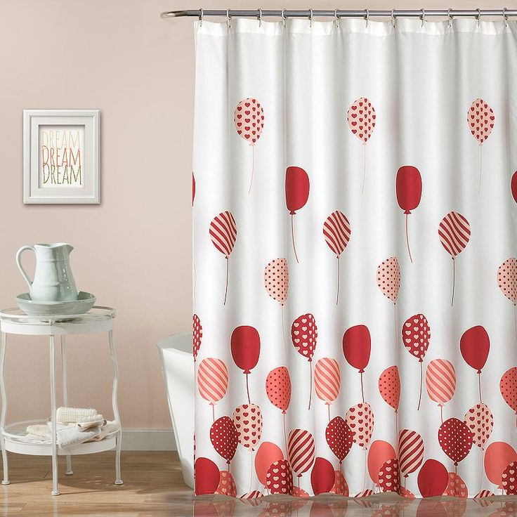 Lush Decor Flying Balloon Kid's Shower Curtain, Pink