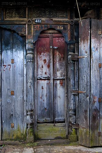 colorful door in Dagshai village, Himachal Pradesh, India