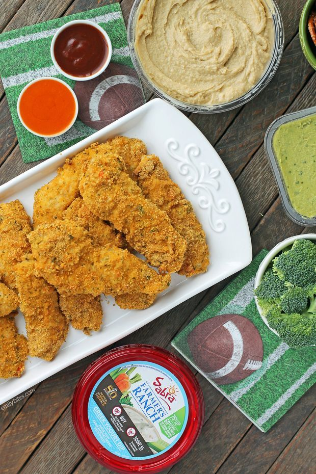 These baked Cheddar Ranch Chicken Tenders are an easy, healthier way to eat chicken fingers! Just 279 calories or 6 Weight Watchers SmartPoints per serving! www.emilybites.com