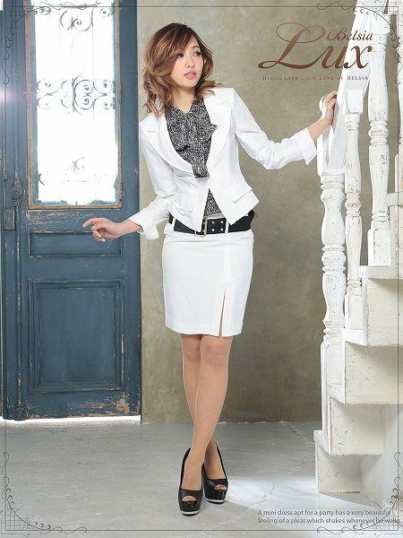 【BELSIA LUX】2way!取り外しok!ボウタイブラウス付きフォーマルElegantスーツ/ミディ丈(S/M/L)(黒/白/ベージュ),式スーツ 女性 フォーマル - RYUYU