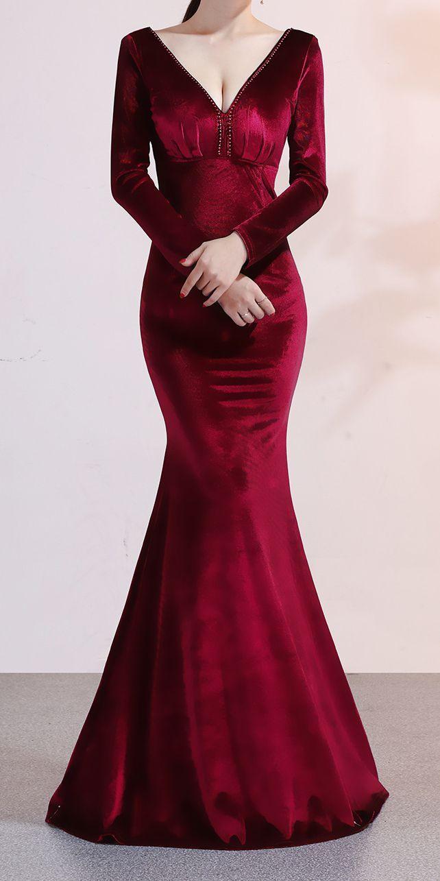 89 90 Red Long Sleeve Classy Dress 94 90 Stunning Dark Red Wine Velvet Evening Maxi Dress With Long Slee Classy Dress Classy Maxi Dress Dark Red Dresses [ 1285 x 642 Pixel ]