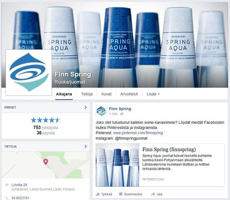 Joko olet tutustunut kaikkiin some-kanaviimme? Löydät meidät Pinterestin lisäksi Instagramista ja Facebookista. Facebook: Finn Spring, www.fb.com/finnspringjuomat Instagram: @finnspringjuomat
