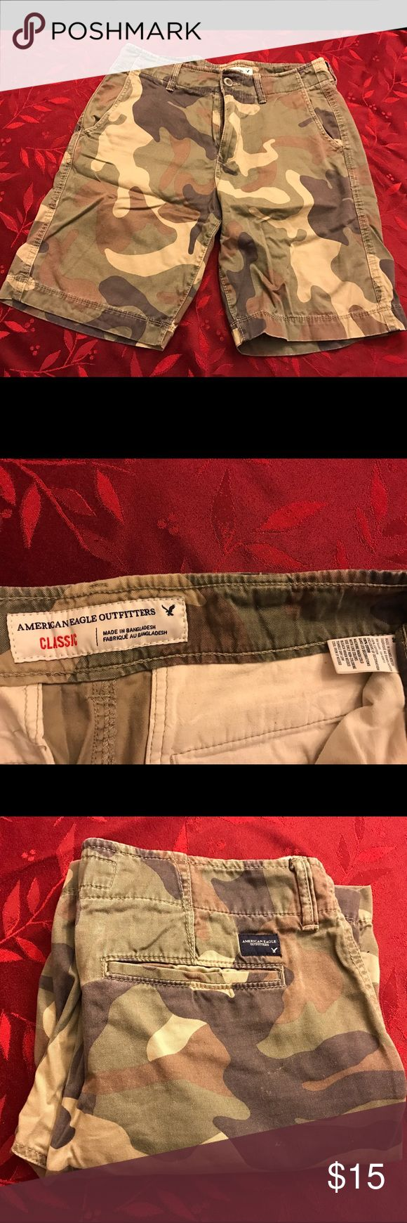 Men's Camo Shorts Camo shorts in good condition; sit right above the knee.. Classic Fit. Will be ironed for buyer. American Eagle Outfitters Shorts Flat Front