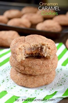 These easy cinnamon cookies have a surprise caramel center that everyone will love!  1 white cake mix   1 egg   8 Tablespoons butter, melted   4 ounces cream cheese, softened   2 teaspoons cinnamon   24 Milky Way Simply Caramel Unwrapped Bites   3-4 Tablespoons cinnamon sugar  Read more at http://insidebrucrewlife.com/2014/10/cinnamon-caramel-cookies/#W0R8qDuHV3wgG1eX.99