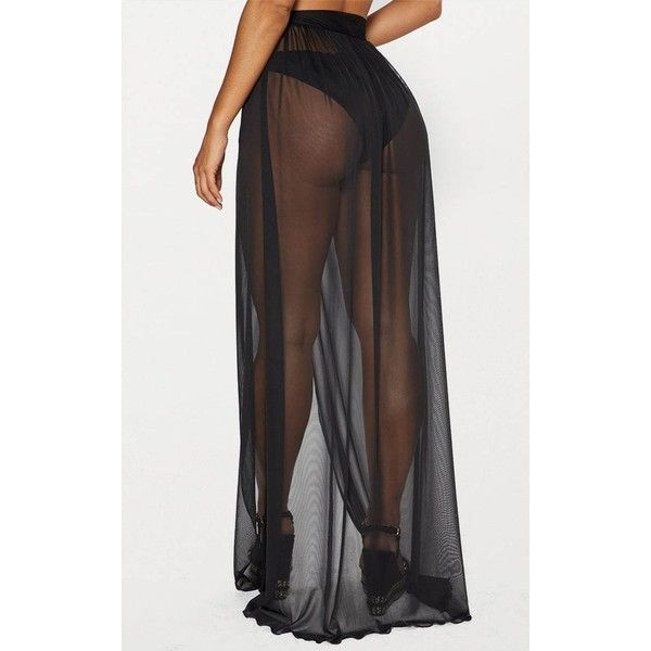 236746a55 Black Tie Side Maxi Beach Skirt ❤ liked on Polyvore featuring skirts, long beach  skirts