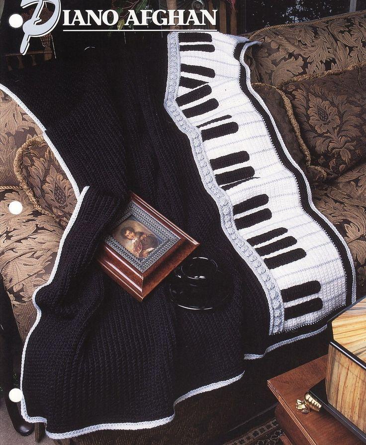 Piano Afghan Crochet Afghan Blanket Annies Attic Music
