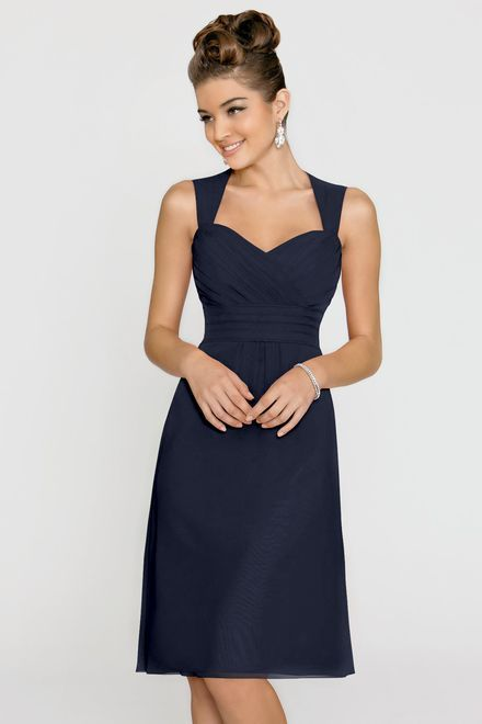 Alexia Designs style 148S: Bella chiffon bridesmaid dress with keyhole back.  Also available in floor length as style 4148.