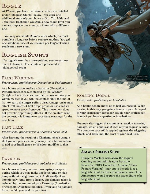 Roguish Stunts Beyond Hide Shoot Repeat V0 1 Unearthedarcana Dungeons And Dragons Game D D Dungeons And Dragons Dungeons And Dragons Classes
