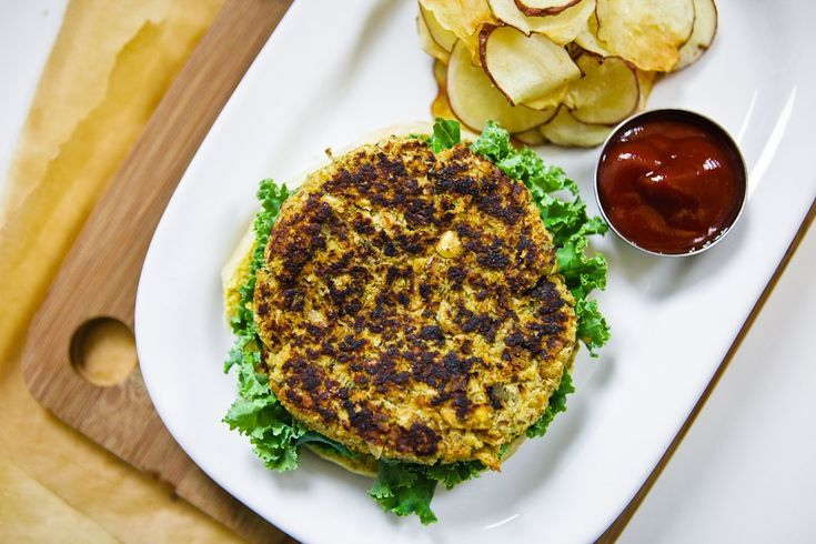 Savory Sage & Flower Burgers with Baked Potato Chips