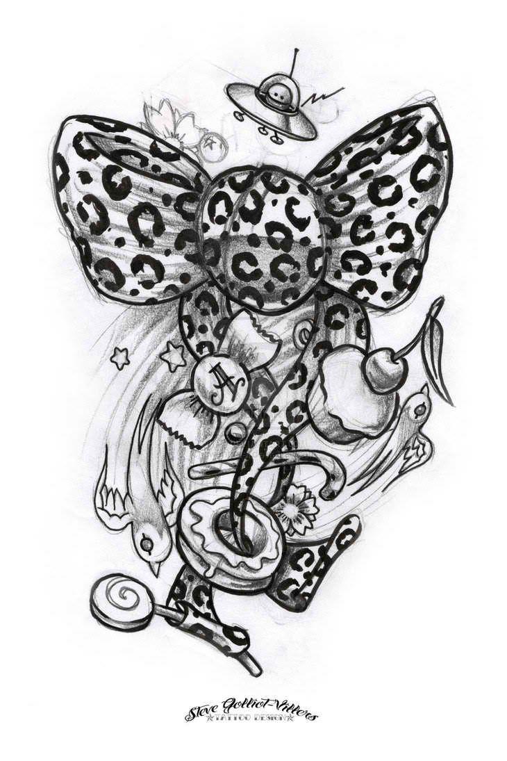 Dessins De Tatouages Pour Femmes #15: Dessin Pour Tatouage, Noeud Leopard, Bonbons Cupcakes