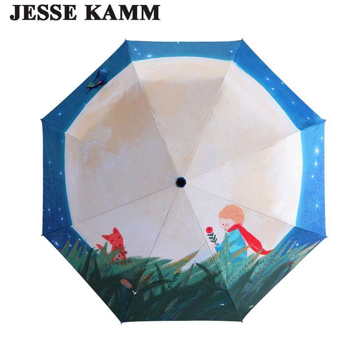 JESSE KAMM Three Folding Compact Lady Anti-uv Women Female Sunny Prince and Moon New Design Sunshade Rain Strong umbrellas