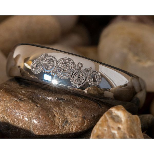 Tungsten Ring 6mm Dome Doctor Who Time Lord Design ($49) ❤ liked on Polyvore featuring jewelry, rings, tungsten rings, dome ring and tungsten jewelry