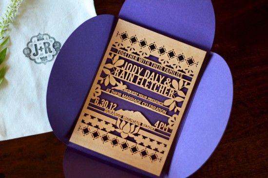 Jody + Rain's Eastern-Inspired Lasercut Wood Wedding Invitations   Design and Photo Credits: Kate Holgate