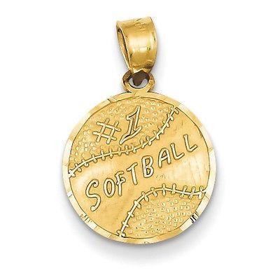 14k Yellow Gold #1 Softball Charm Pendant - 12x20mm 0.72 Grams