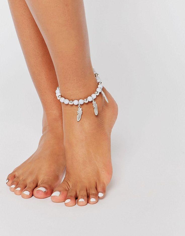 Изображение 3 из Пляжный браслет на щиколотку с полудрагоценными камнями ASOS