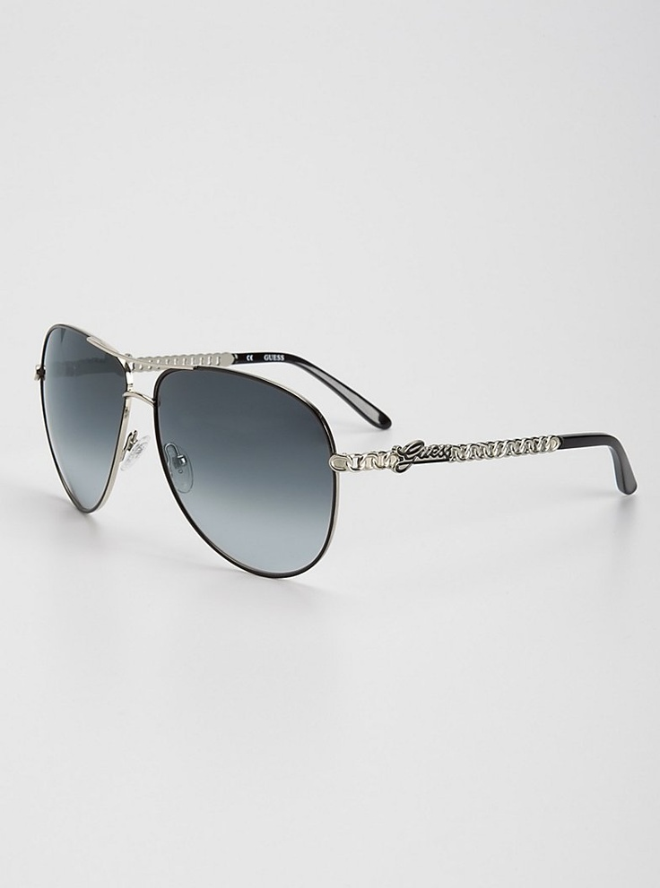 Adiva Chain Aviator Sunglasses | GUESS.com $85