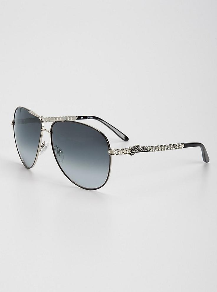 Adiva Chain Aviator Sunglasses | GUESS.com $85