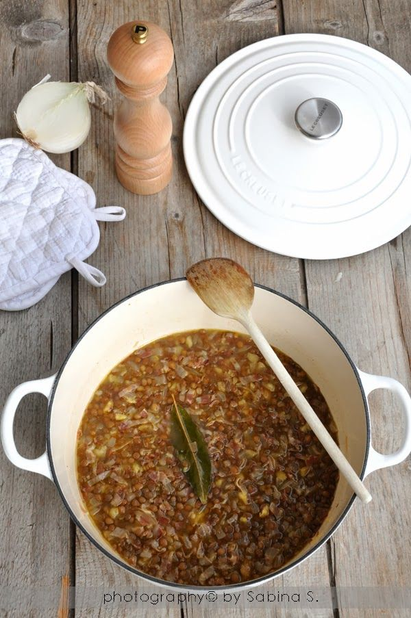 Zuppa di lenticchie con castagne e speck