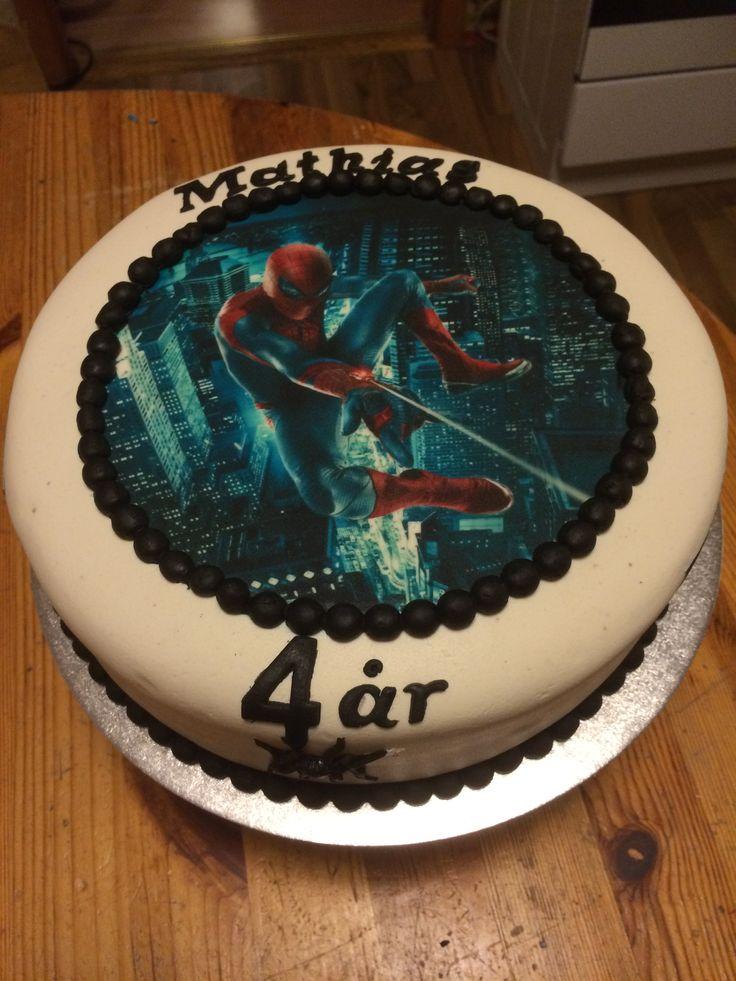 Bursdagskake Gutt. Spiderman.