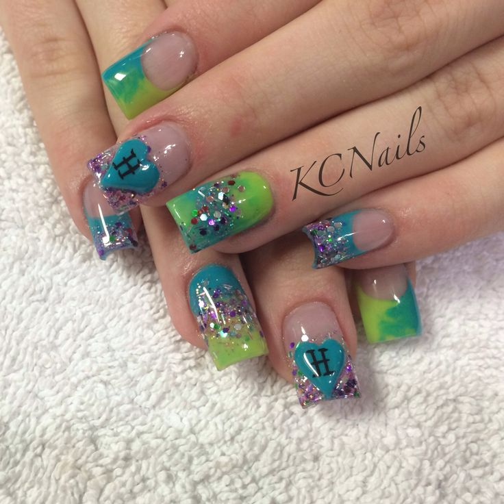 Teal and Lime Green acrylic nails. Marbled nails, French ...
