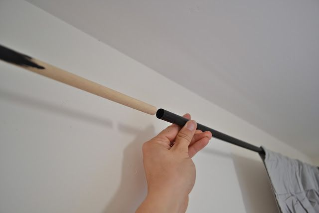 sarah m. dorsey designs: How to lenghten your cafe rod for $1  Master Bedroom solution - this will save me about $60!