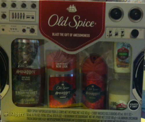Old Spice Swagger Gift Set by Old Spice. $28.00. - 16 oz Swagger Body Wash & 3.0 oz Deodorant. - 4 oz Body Spray. Box Set Contains:. - 1.7 oz Fiji Trial Size Body Wash. - 0.5 oz Fiji Anti-Perspirant and Deodorant. The Old Spice Red Zone Swagger Gift Set contains everything a man needs to smell fresh all day. This Old Spice Swagger Gift Set includes Old Spice Swagger Body Wash, Old Spice Swagger Deodorant, and Old Spice Swagger Body Spray along with the trial siz...
