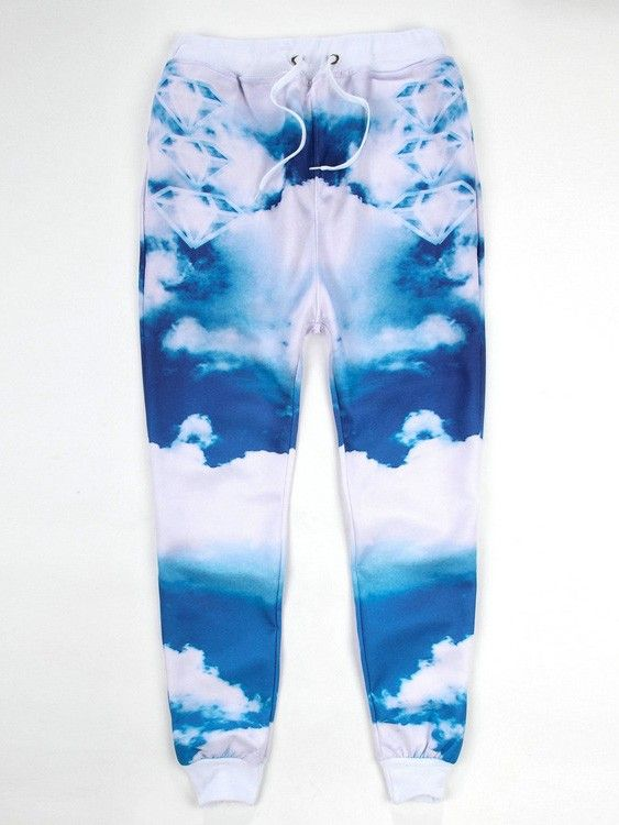 Men/Women Emoji Joggers for Sale Blue Sky White Clouds Printed Hip-Hop Emoji Jogger Sweatpants Couple Clothes