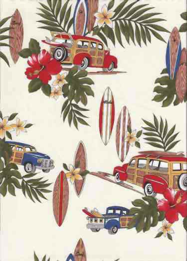 30manao Tropical Hawaiian Vintage Woody Trucks and surfboards on a cotton Hawaiian apparel fabric.Add Discount code: (Pin10) in comment box at check out for 10% off sub total at BarkclothHawaii.com