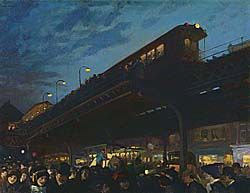 JOHN SLOAN (1871–1951)    Six O'Clock, Winter, 1912 Oil on Canvas This caught my attention because I hate crowds and would hate to have to ride a train with all of these people after work each day.