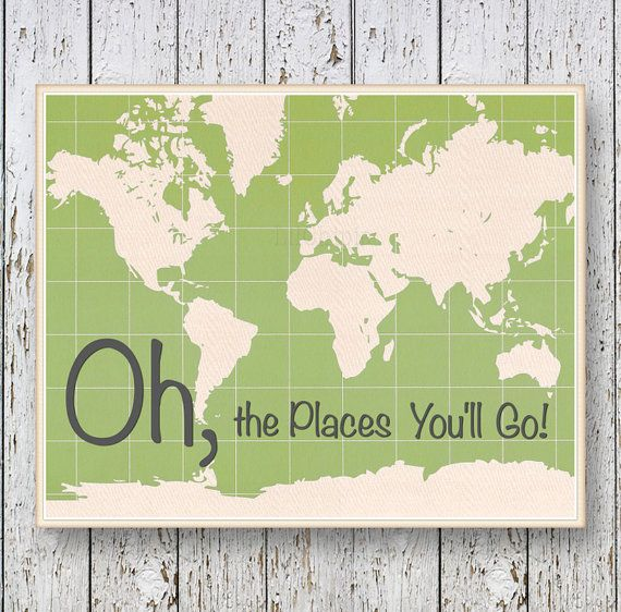 Oh, the Places you'll Go! Dr Seuss - Family Room playroom - Kids wall art World map - Green Boys bedroom wall art for children on Etsy, $14.00