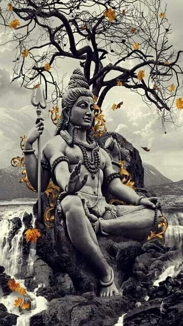 Shiva statue, modern representation with hand opened symbol, flame, snake & trident.