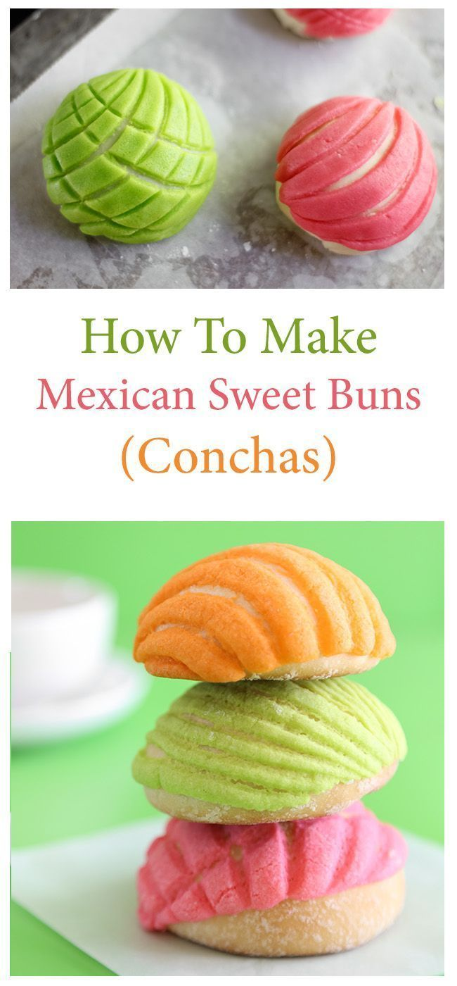 Mexican Sweet Buns (Conchas) | Sprinkle Bakes Mexican food, #mexican #recipe