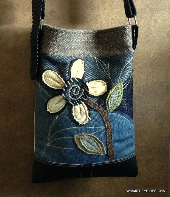 Crossbody Bag, Upcycled Purse, Recycled Fabric, iPhone pocket, Blue Black Yellow, Appliqued, Eco Friendly, Shabby Chic, Hobo Bag