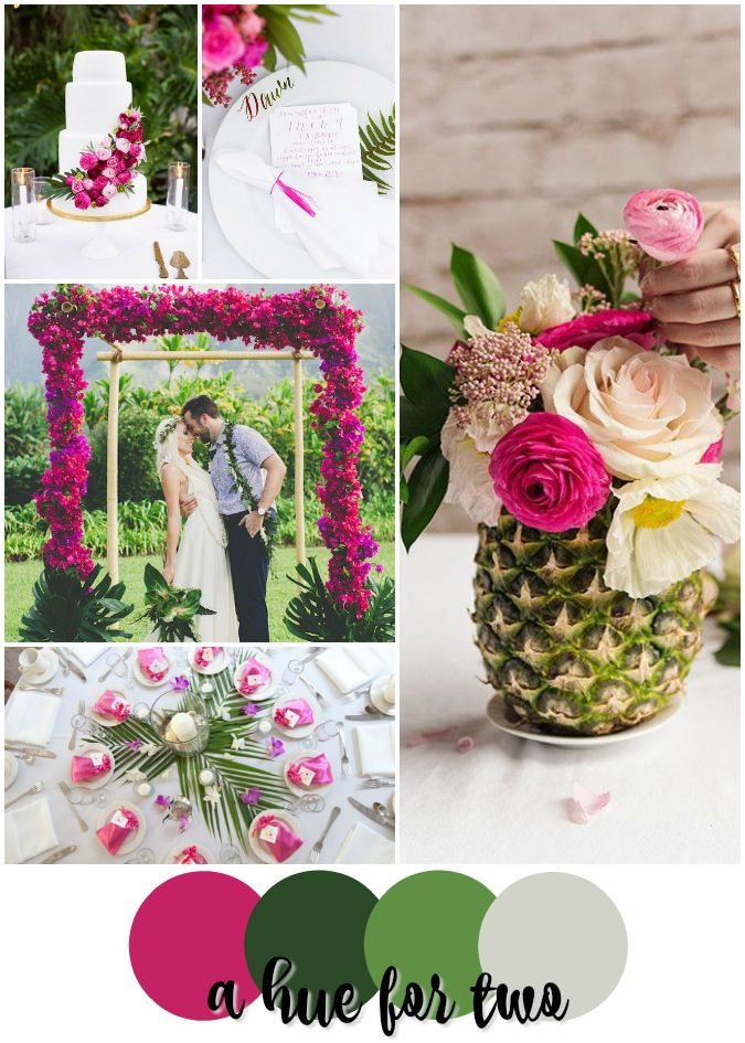 Pink and Green Tropical Wedding Colour Scheme - Wedding Colors - Hot Pink - Deep Pink - Emerald - Palm - Pineapple - Florals - A Hue For Two | www.ahuefortwo.com
